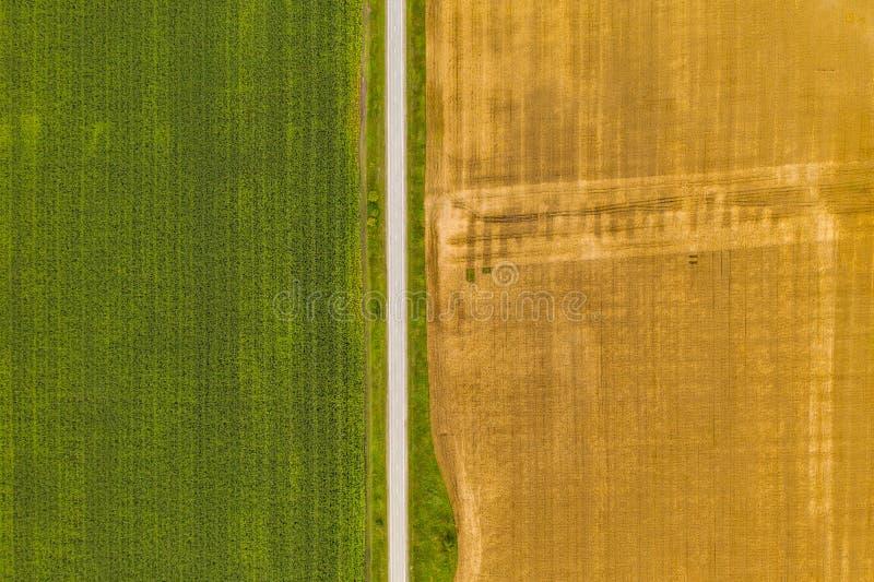 Luftbild-Drohnen-Fotografie eines Landes mit gesäten Grünflächen auf dem Lande stockbild