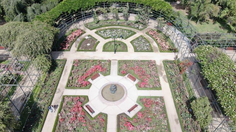 Luftbild eines Rosengartens an einem Park lizenzfreie stockfotos