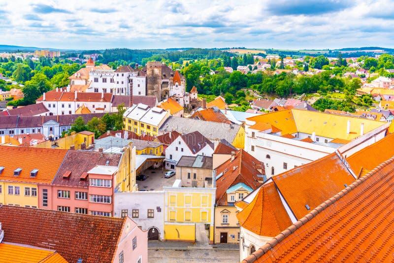 Luftbild Jindrichuv Hradec vom Kirchturm, Tschechische Republik lizenzfreies stockbild