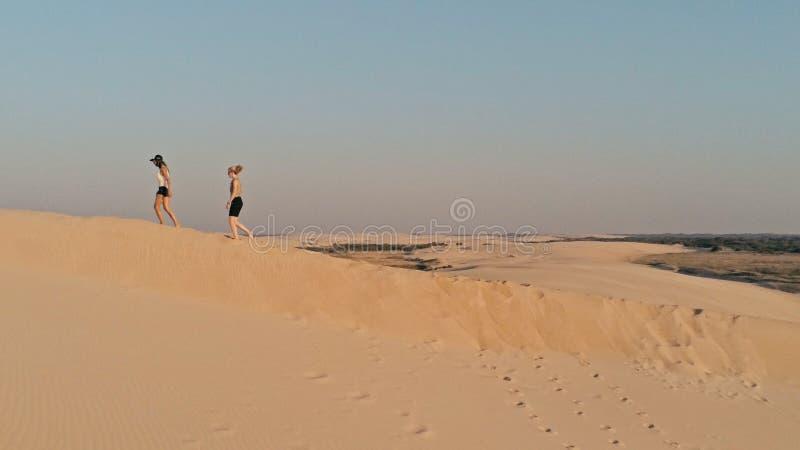 Luftbild von den jungen Mädchen, die am Rand einer Sanddüne in der schönen Wüstenumgebung gehen stockbild