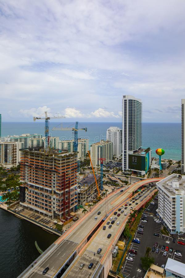 Luftbild von Hallandale-Strand Florida lizenzfreies stockbild