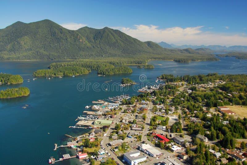 Luftbild von Tofino BC Kanada lizenzfreie stockbilder