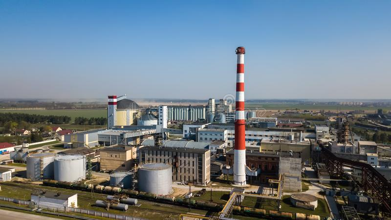 Luftbildfotografie eines Industrieunternehmens lizenzfreies stockfoto