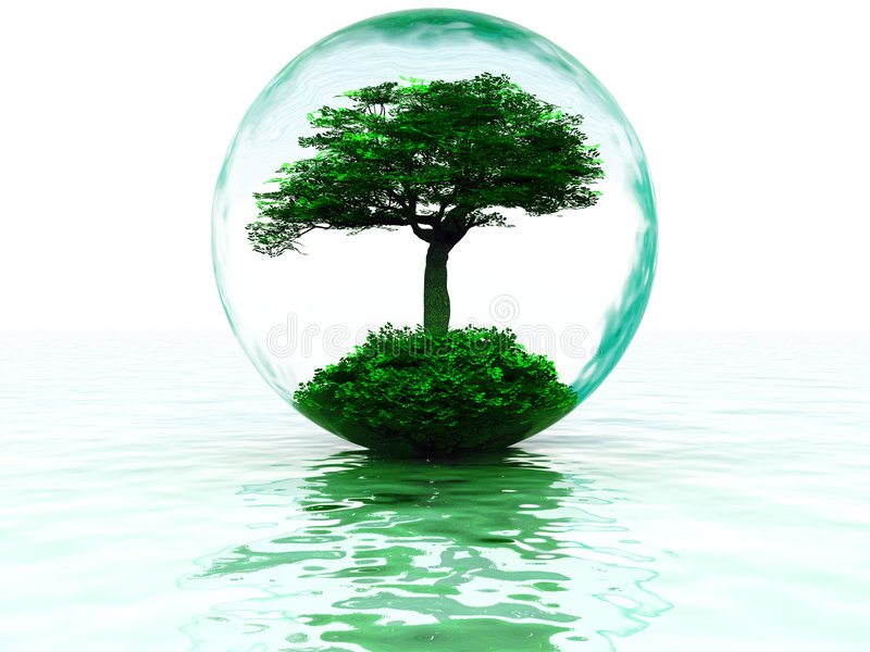 Luftblase mit Baum stock abbildung