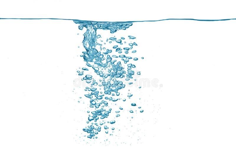 Luftblasen in einem blauen Wasser lizenzfreie stockbilder
