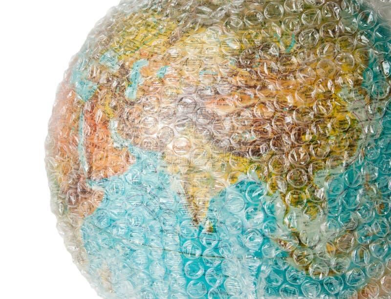 Luftblasenverpackungs-Weltschutz lizenzfreies stockfoto