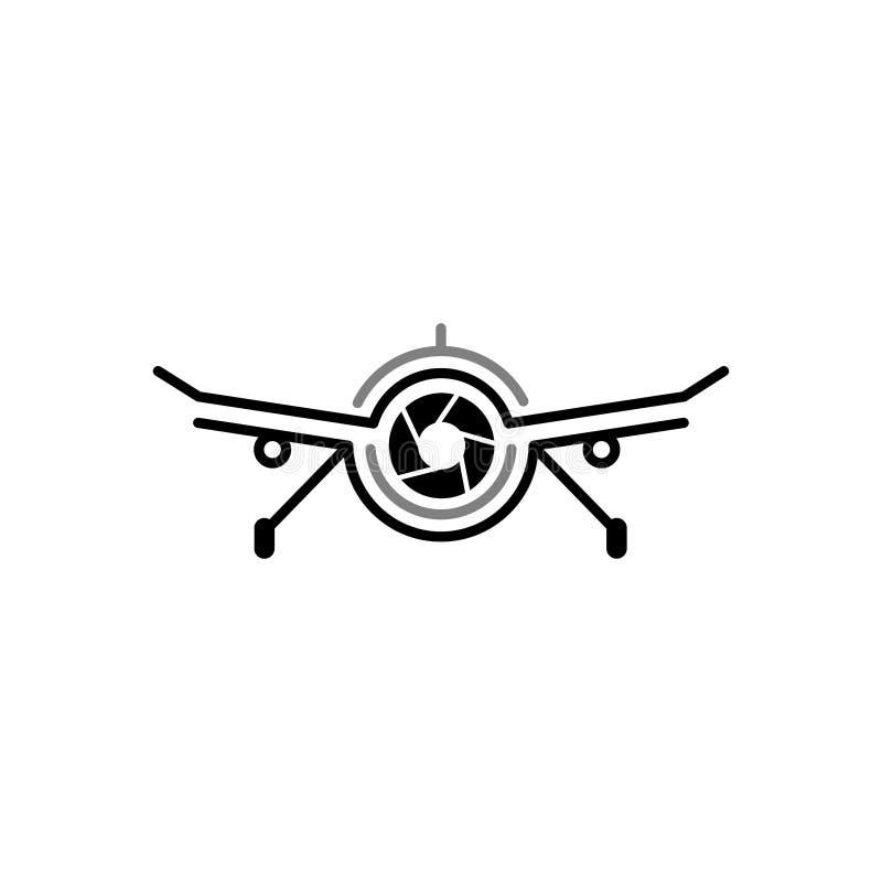 Luftbrummen-Nocken-Fotografie Logo Design Template Brummen-Kamera-Fotografie-Technologie Logo Vector Icon lizenzfreies stockfoto