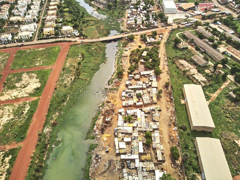 Luftbrummenansicht von niarela Quizambougou Niger Bamako Mali lizenzfreies stockfoto