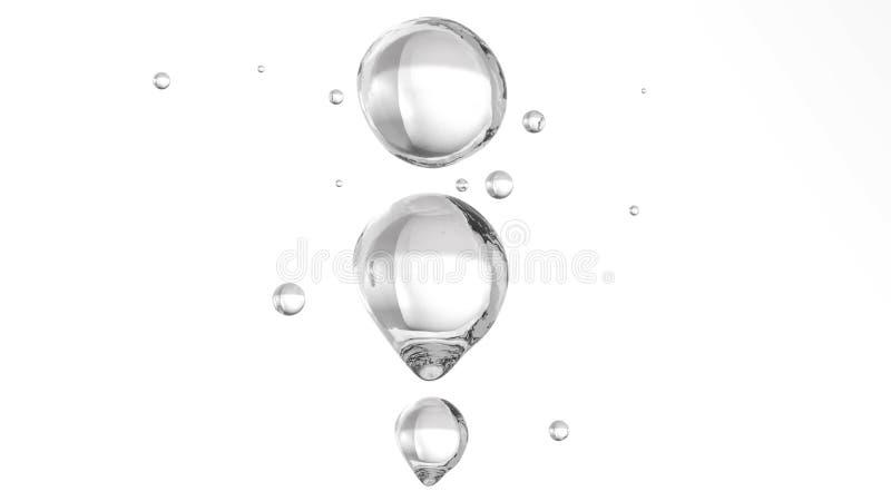 Luftbubblor i mest klar vatten Vit bakgrund royaltyfri illustrationer