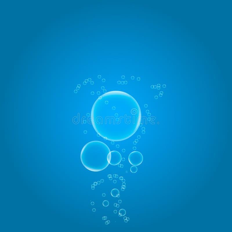 Luftbubblor planlägger i blått vatten på lutningbakgrund arkivfoto