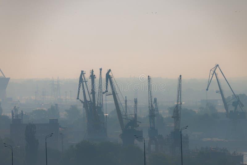 Luftförorening på flodporten Portalkran i morgondimma i industriområde i stad Dålig luftkvalitet som fylls med dammorsaker royaltyfri foto