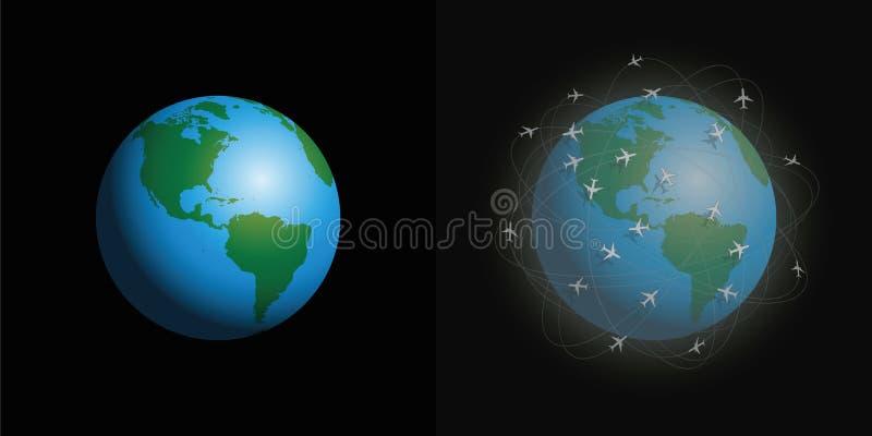 Luftföroreningflygplan gör ren den smutsiga planeten stock illustrationer