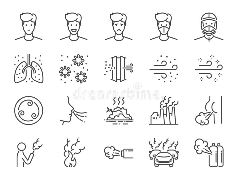 Luftföroreninglinje symbolsuppsättning Inklusive symboler som rök, lukt, förorening, fabrik, damm och mer vektor illustrationer