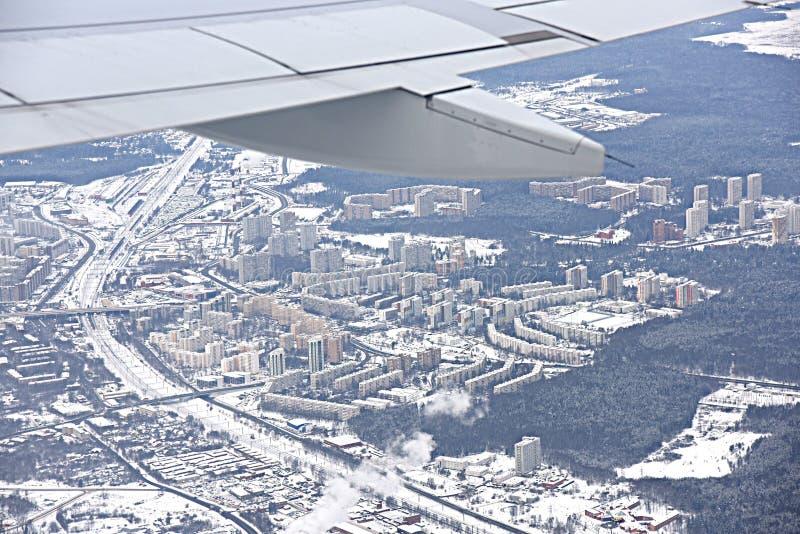 Luftfahrtbild von Moskau Sheremetievo von der Vogelperspektive stockfotos