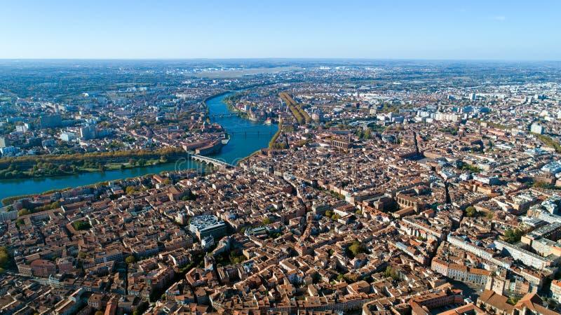 Luftfoto des Toulouse-Stadtzentrums lizenzfreies stockbild