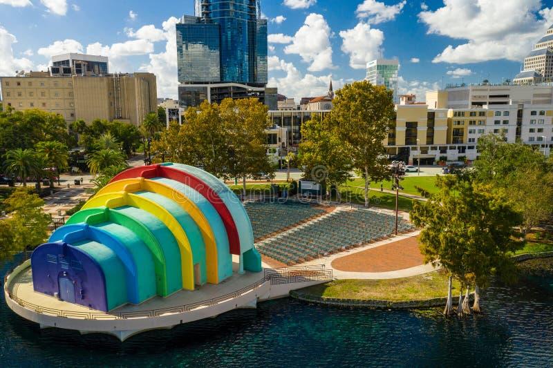 Luftfoto See Eola-Amphitheater Orlando FL USA lizenzfreie stockfotografie