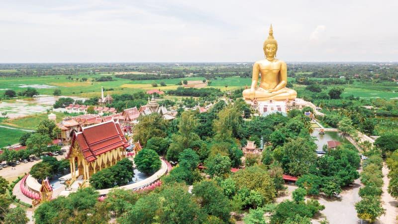 Luftfoto Wat Muang Ang Thong Thailand stockbild
