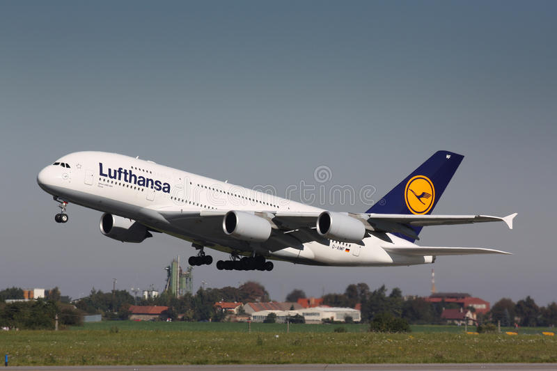 A380 Lufthansa photo stock