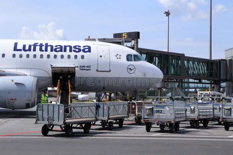 The Lufthansa Air Company Jet After Arrival Editorial Image