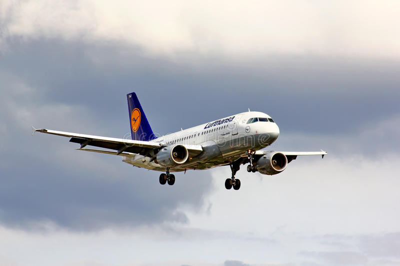Lufthansa Airbus A319. BERLIN, GERMANY - AUGUST 17, 2014: Lufthansa Airbus A319 arrives to the Tegel International Airport royalty free stock photo