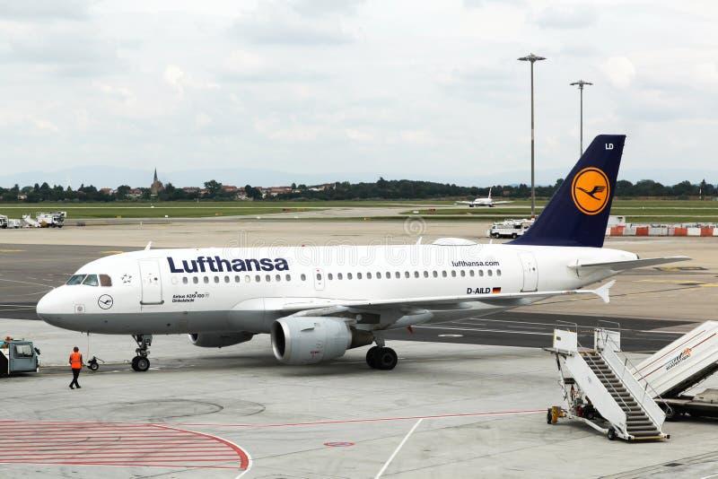Lufthansa airbus at Lyon Saint Exupery airport, France. Lyon, France - June 3, 2018: Lufthansa airbus at Lyon Saint Exupery airport. Lufthansa is a german stock photo