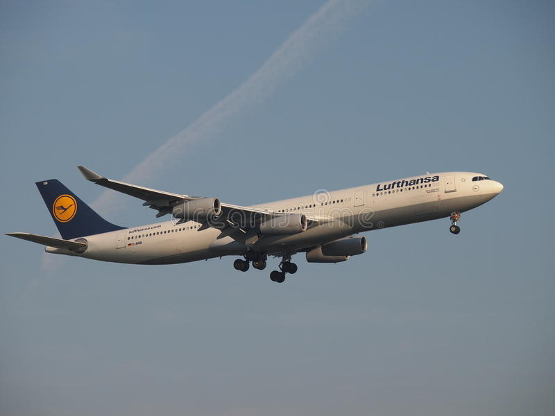 Lufthansa Airbus A340-300. One of the biggest airlines in the world, Lufthansa main base is the Frankfurt airport. Main member of Star Alliance, can serve over stock image