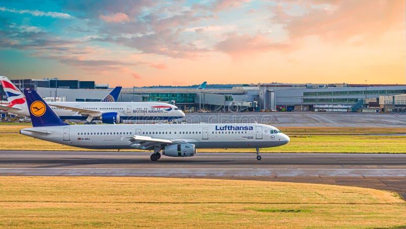 Lufthansa and British Airways at Heathrow stock photography