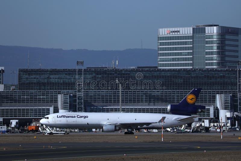 Lufthansa Cargo plane being in Frankfurt Airport. Lufthansa Cargo plane being taxiing in Frankfurt Airport, FRA royalty free stock photo