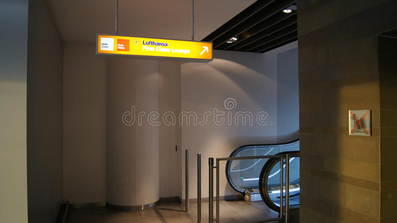 Lufthansa First Class Lounge entrance Frankfurt. Lufthansa First Class Lounge entrance in Frankfurt (Terminal 1 royalty free stock images