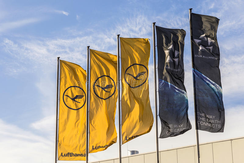 Lufthansa flag with Lufthansa symbol, the crane and star alliance stock photography