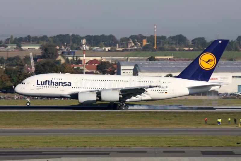 Lufthansa flygbuss A380 arkivbilder