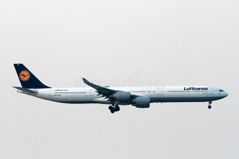 Lufthansa flygplan royaltyfri foto