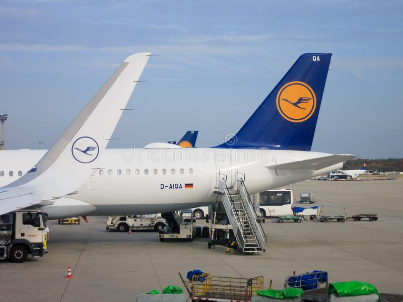 Lufthansa jets. Tail and winglet of Lufthansa jets parked at Frankfurt International Airport royalty free stock photo