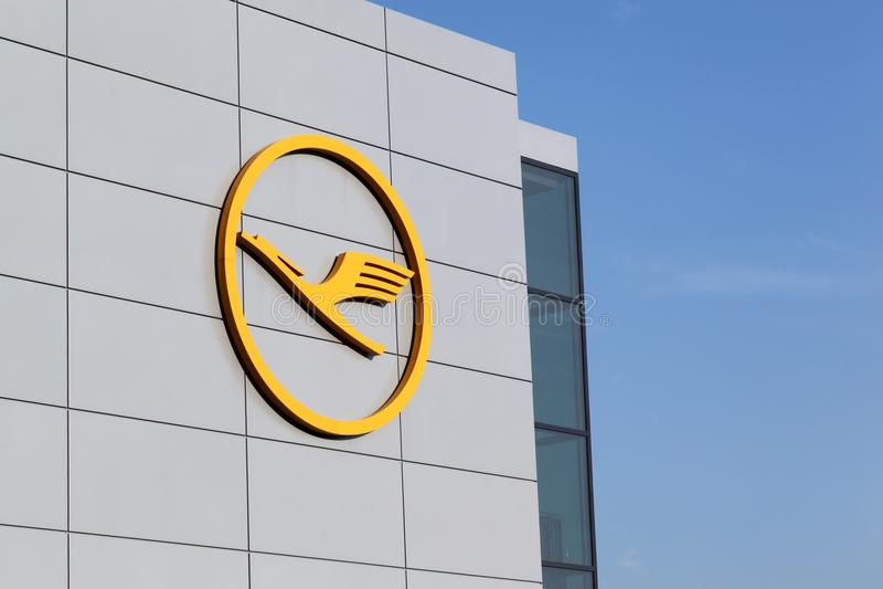 Lufthansa logo on wall at Frankfurt airport stock photo