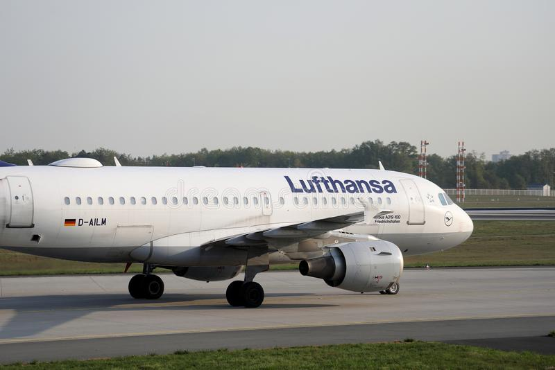 Lufthansa Airbus A319-100, D-AILW airplane in Frankfurt Airport, FRA. Lufthansa taxiing in Frankfurt Airport, FRA, Germany stock photo