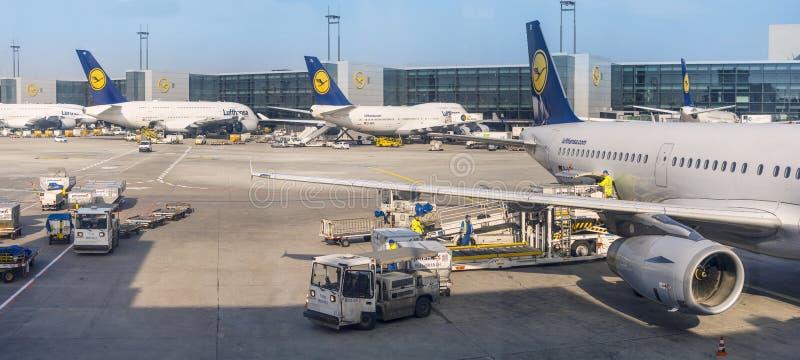 Lufthansa vliegtuigen in de luchthaven van Frankfurt/Main stock afbeelding