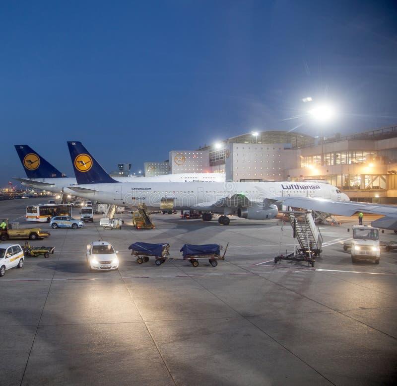 Lufthansa-Vlucht bij de poort stock afbeeldingen