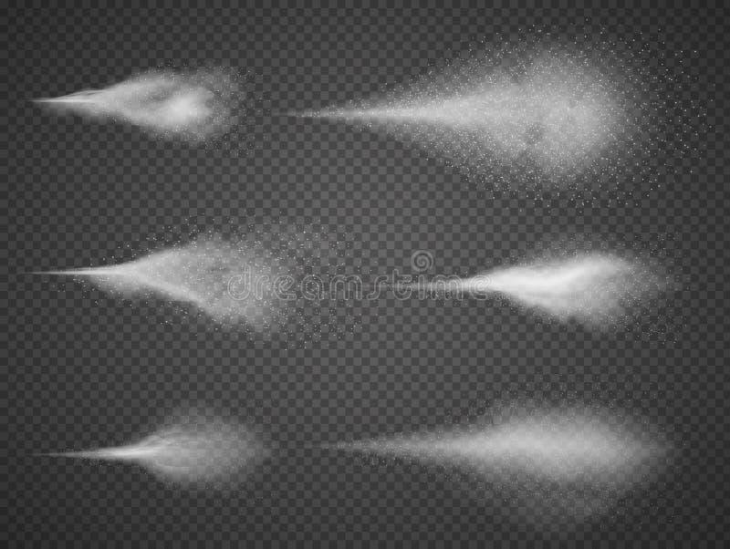 Luftig uppsättning för vektor för mist för vattensprej Sprejaredimma som isoleras på svart genomskinlig bakgrund stock illustrationer