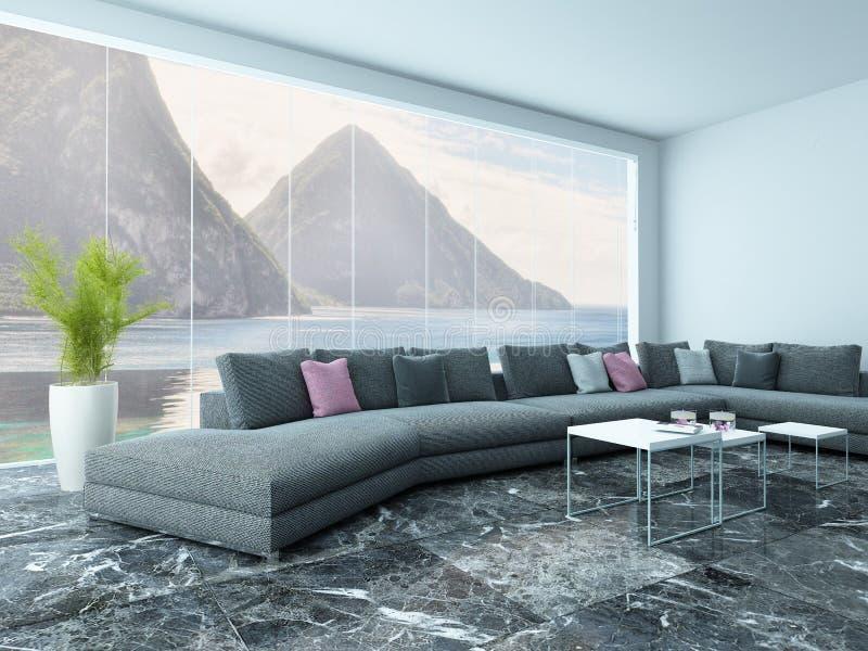 Luftiger Wohnzimmerinnenraum Mit Marmorboden Und Couch Stockfoto