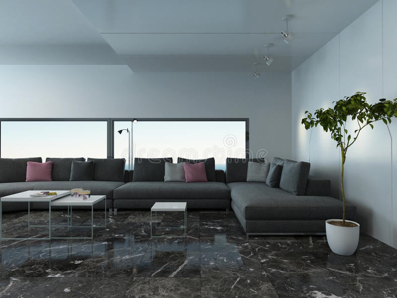 luftiger wohnzimmerinnenraum mit marmorboden und couch stockfoto bild von geb ude zustand. Black Bedroom Furniture Sets. Home Design Ideas