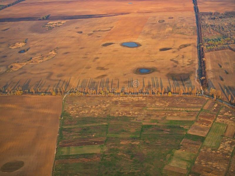 Luftkleine Teiche des Ackerlandes des landwirtschaftsfeldes gestalten landschaftlich stockfotografie