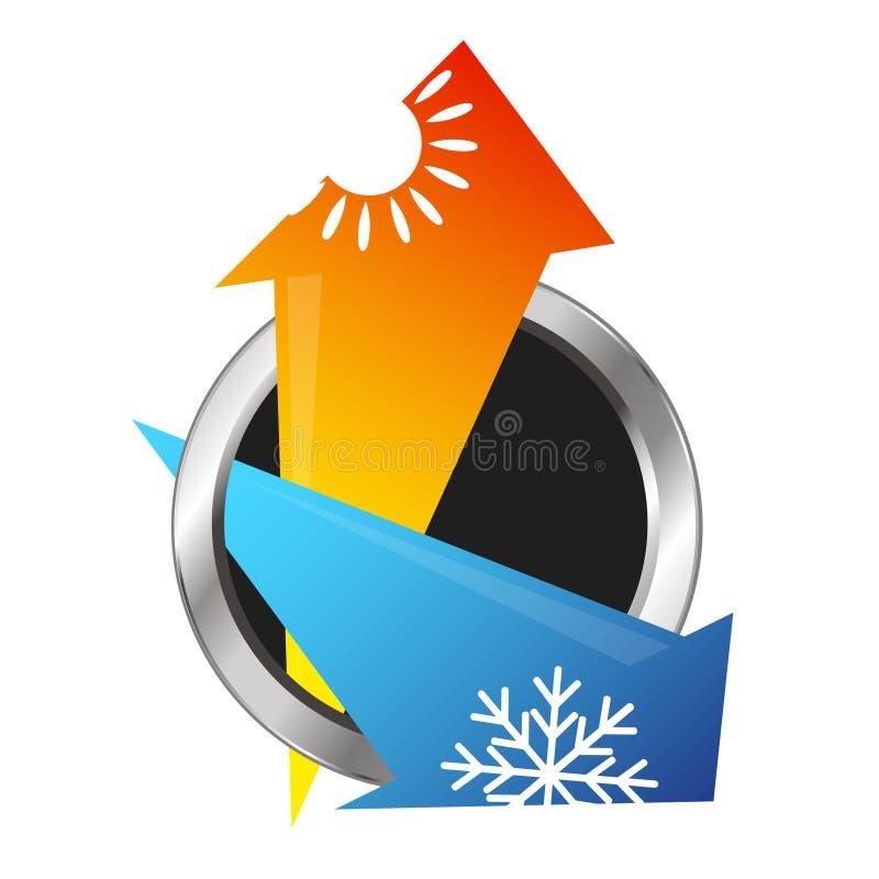 Luftkonditioneringsapparat- och ventilationspilar stock illustrationer
