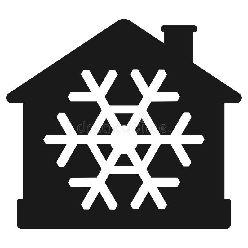 Luftkonditioneringsapparatsymbol, hus med snöflingan royaltyfri illustrationer
