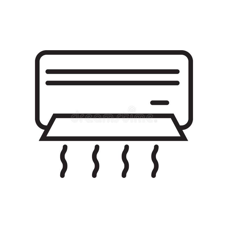 Luftkonditioneringsapparatsymbolsvektor som in isoleras på vit bakgrund, luftkonditioneringsapparattecken, linjärt symbol och sla royaltyfri illustrationer