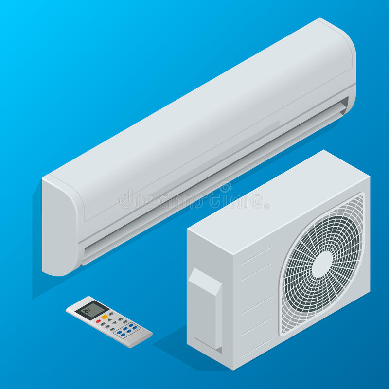 Luftkonditioneringsapparatsystemuppsättning som isoleras på bakgrund Plan isometrisk illustration för vektor 3d vektor illustrationer