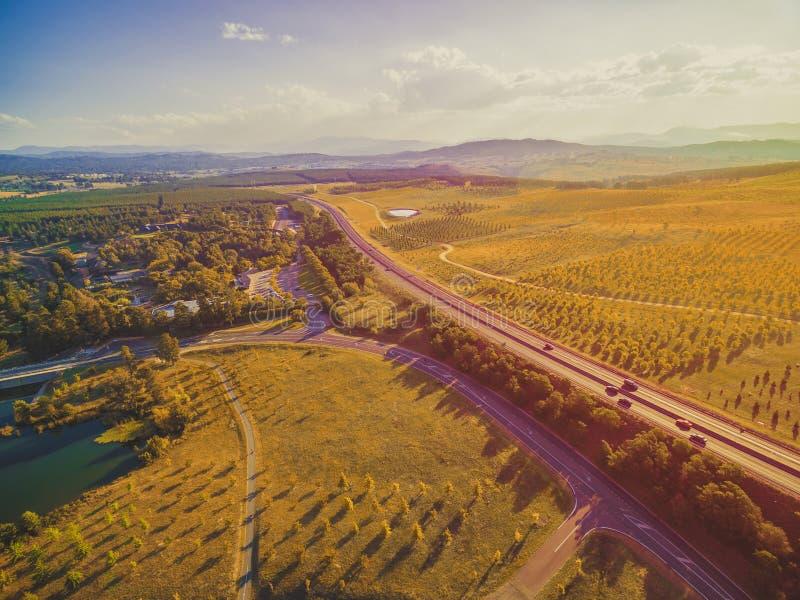 Luftlandschaft der szenischen Landschaft in Canberra, Australien lizenzfreies stockbild