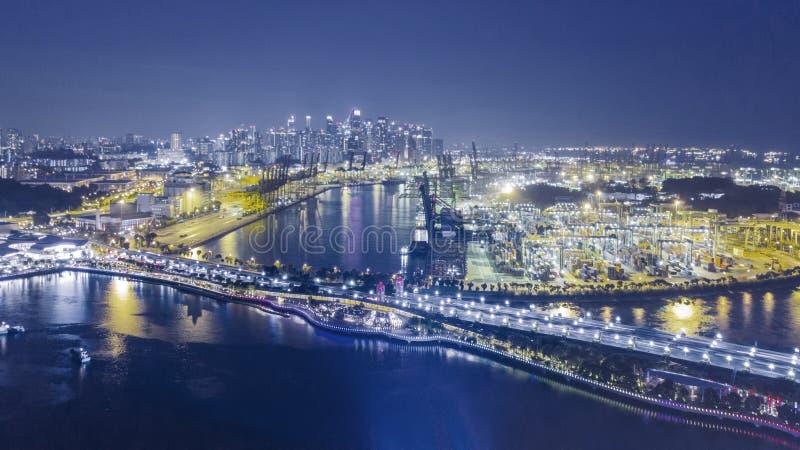Luftlandschaft von Singapur-Industriehafen stockfotografie