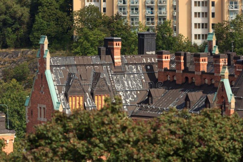 Luftpanorama der schwedischen Stadt lizenzfreies stockfoto