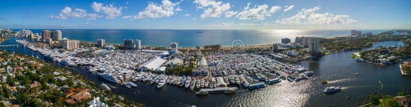 Luftpanorama Fort Lauderdale-Bootsshow 2017 stockbild