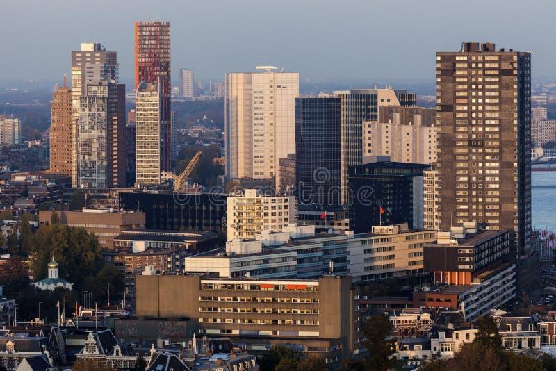 Luftpanorama von Rotterdam stockbilder